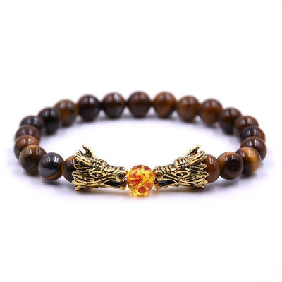 Bracelet Dragon Double Tête (Perles) Marron | Dragonance