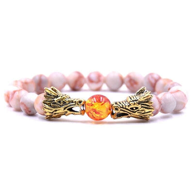 Bracelet Dragon Double Tête (Perles) Rose | Dragonance