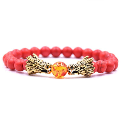 Bracelet Dragon Double Tête (Perles) Rouge | Dragonance