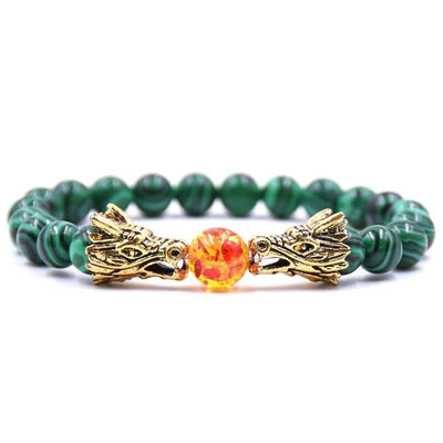Bracelet Dragon Double Tête (Perles) Vert | Dragonance