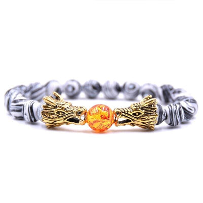Bracelet Dragon Double Tête (Perles) Zèbre | Dragonance