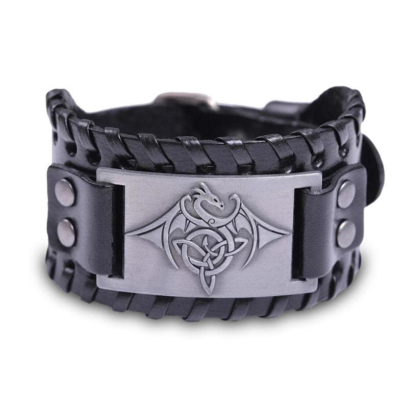 Bracelet Dragon Occidental (Cuir) Noir - Argent | Dragonance