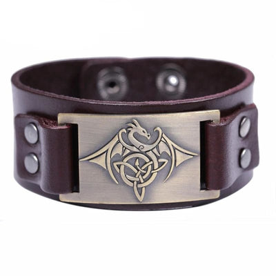 Bracelet Dragon Phoenix (Cuir) Marron - Bronze | Dragonance