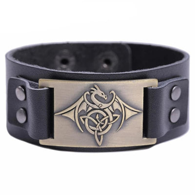 Bracelet Dragon Phoenix (Cuir) Noir - Bronze | Dragonance