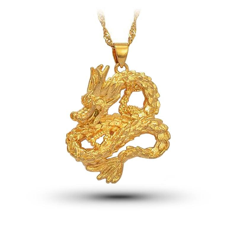 Collier Dragon Jaune (Acier) Vague / 45 cm | Dragonance