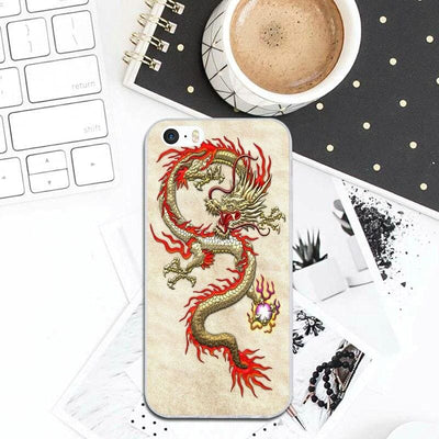 Coque iPhone Dragon Asiatique Beige / iPhone 4 et 4S |