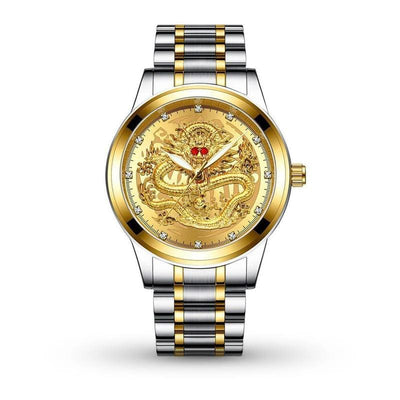 Montre Dragon Chinois Argent Or | Dragonance