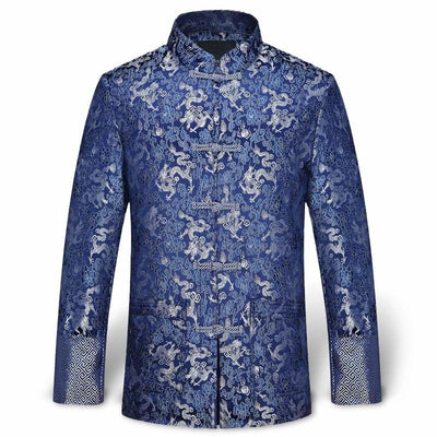 Veste Dragon Traditionnel Chinois Bleu / L | Dragonance