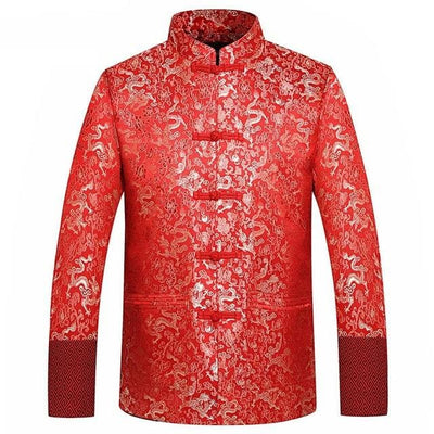Veste Dragon Traditionnel Chinois Rouge / L | Dragonance