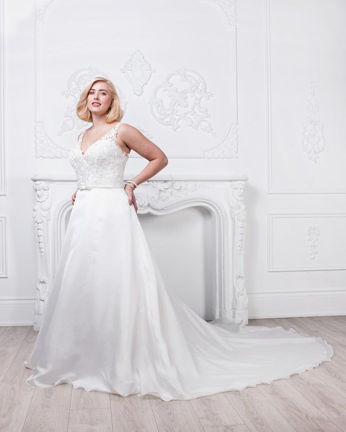 Simple white Floor length Bridal Dress- Sara's fashion