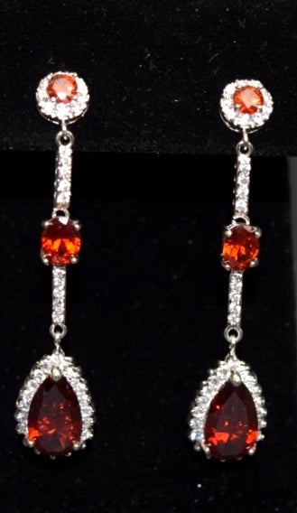 Sara's Fashion Elegant orange diamonds dangle earrings