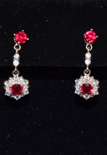 Sara's Fashion Beautiful fuchsia pink diamonds earrings