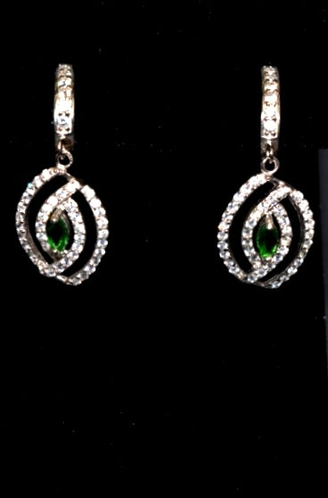 Sara's Fashion Beautiful Emerald Green diamond dangle earrings