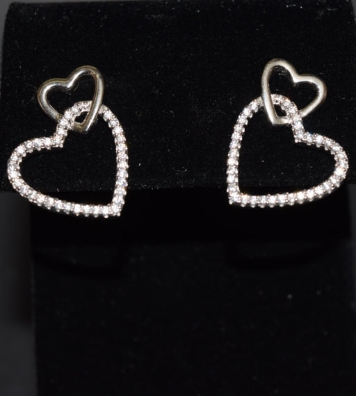 Sara's Fashion Cute double heart earrings made of Real Silver in Edmonton