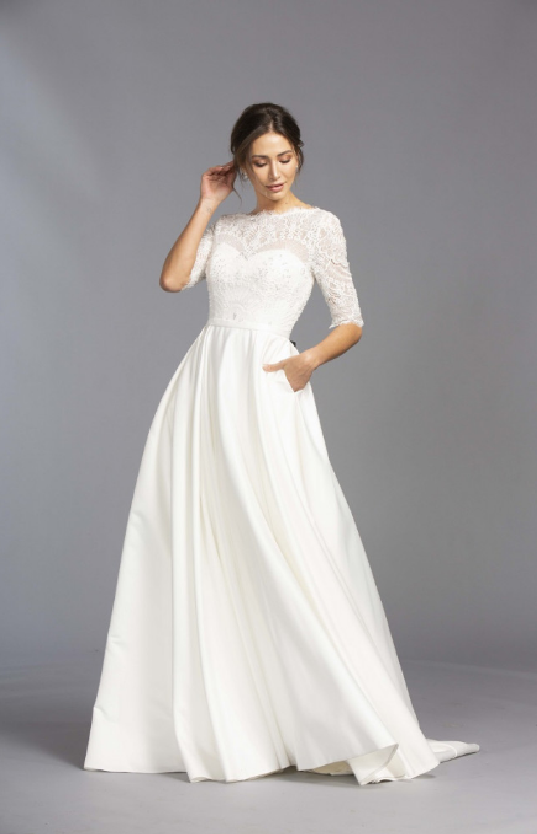 Simple white Floor length Bridal Dress