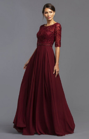 burgundy floor size dress with sleeves