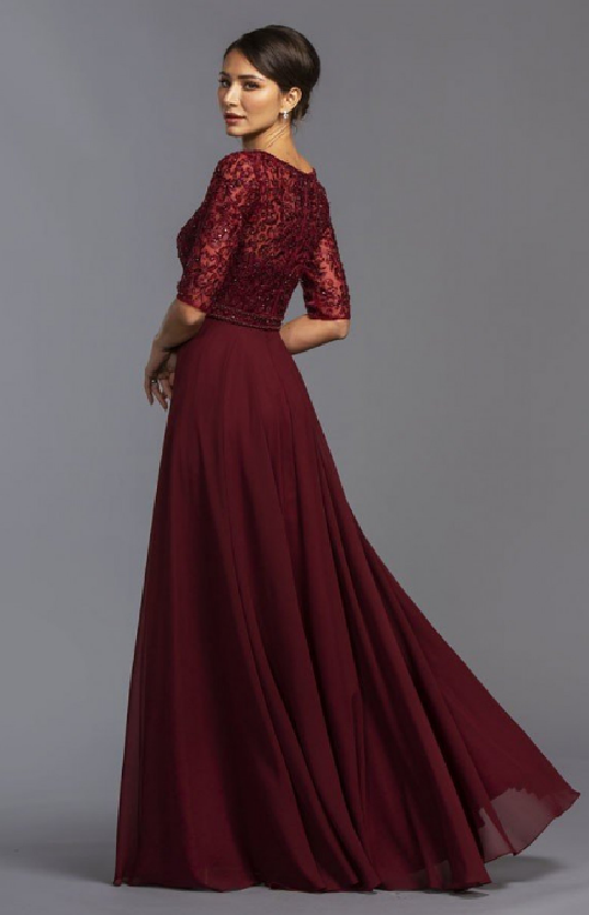 Beautiful floor size dress with sleeves