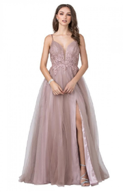 Floor-Length tulle ball gown in mauve