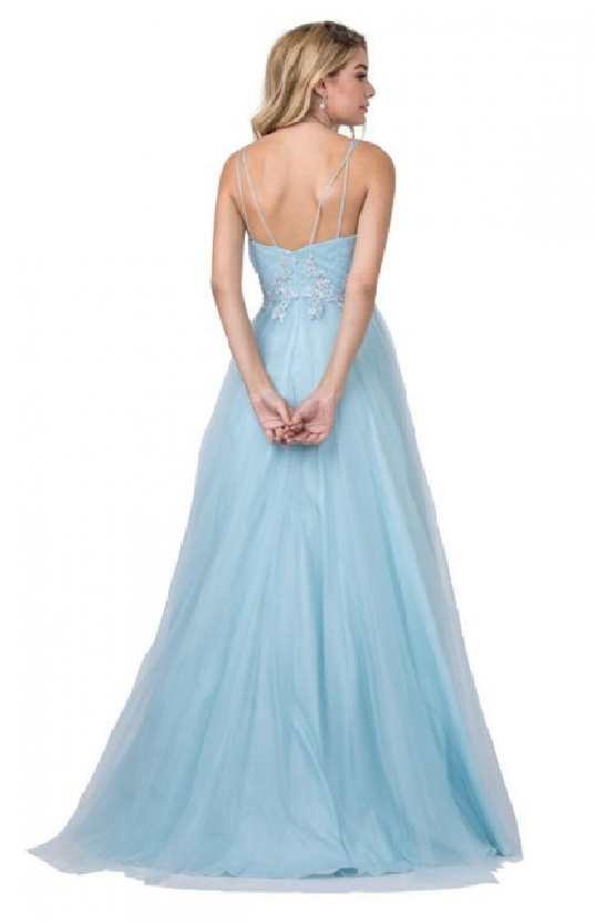 Floor-Length tulle ball gown in Ice Blue