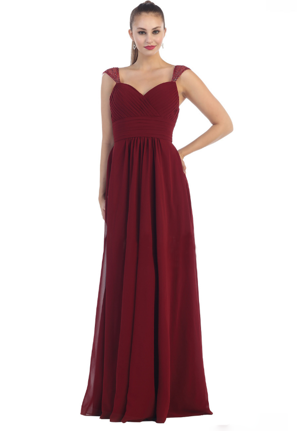 Burgundy beautiful gown for mother of brides