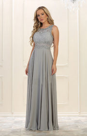 Silver color long wedding maxi for prom and grad