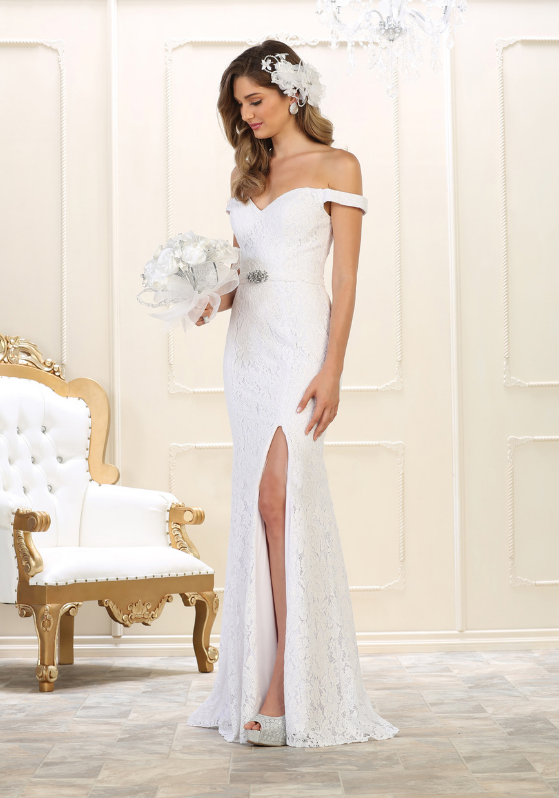 White Off shoulder high Slit wedding dress for bridesmaid