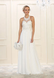 White Halter Neck Long Gown for Wedding In Canada