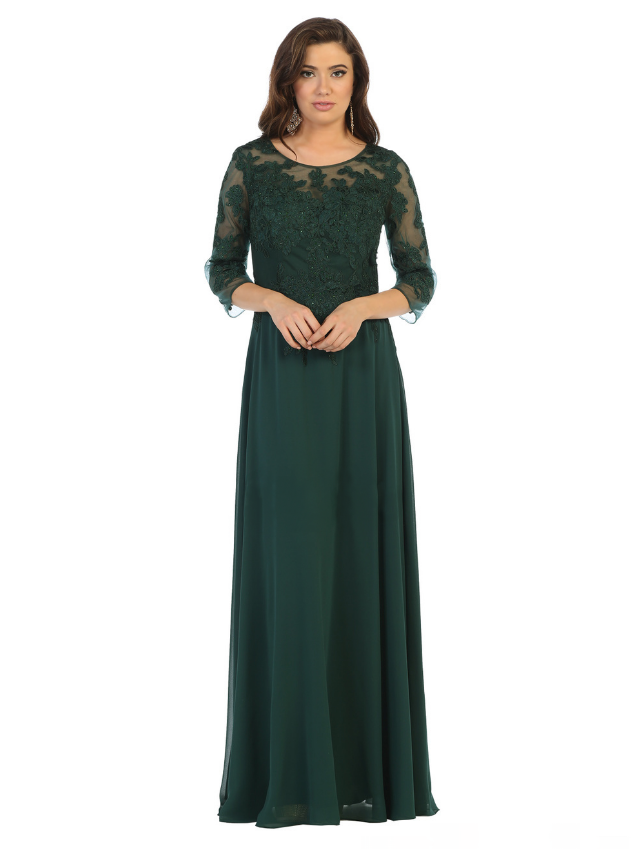 Sara's Fashion Hunter Green Gown with sleeves for Bridesmaid in Canada
