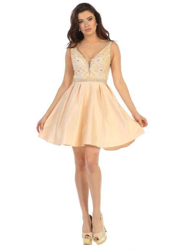 Sara's Fashion V-Neck Short Formal dress In Edmonton