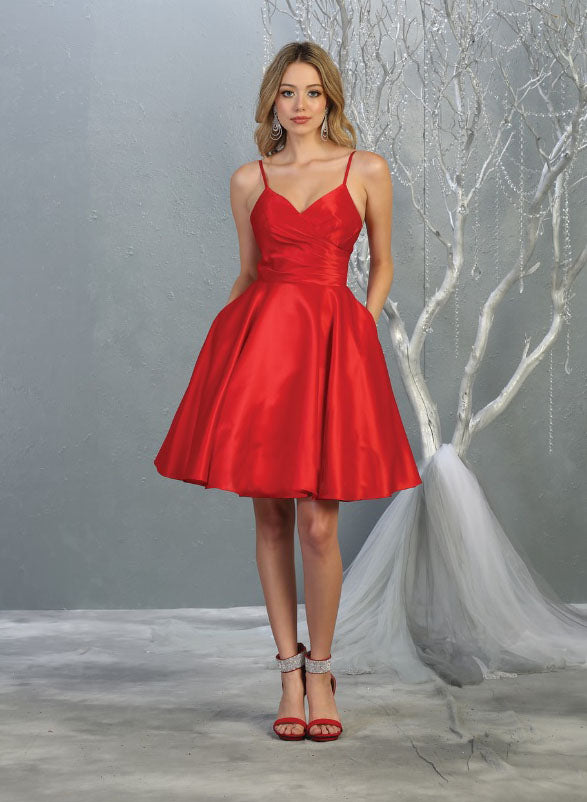 Sara's Fashion Red V-Neck Short Bridesmaid Wedding Dress