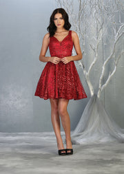 red flowy glittery sequin dress