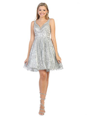 silver flowy glittery sequin dress