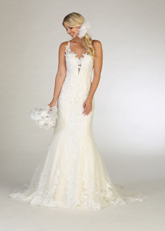wedding gown with mesh material
