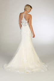 white wedding gown with mesh material