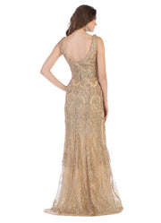 Sleeveless V Neck Prom gown gold