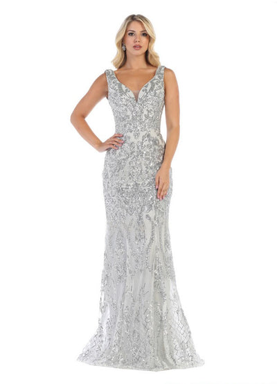 Sleeveless V Neck Prom gown silver