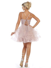 Sleeveless Square Neck dress for prom pink.