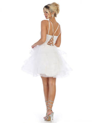 Sleeveless Square Neck dress for prom white