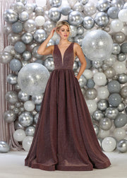 Iridescent Ball Gown for graduation - mauve color