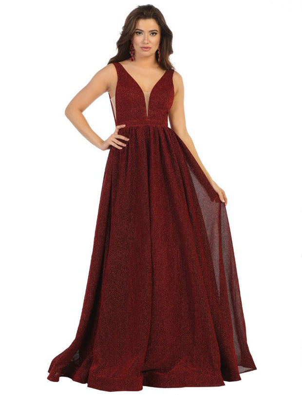 Iridescent Ball Gown for graduation - Burgundy color