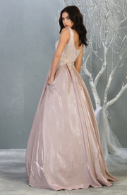 ara's Queen Sparkly Formal Gown with Small Flowers - Sara's Fashion