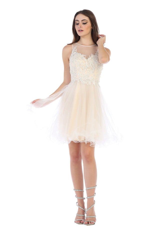 Sara's Fashion Short V-Neck Bridal Dress In Edmonton