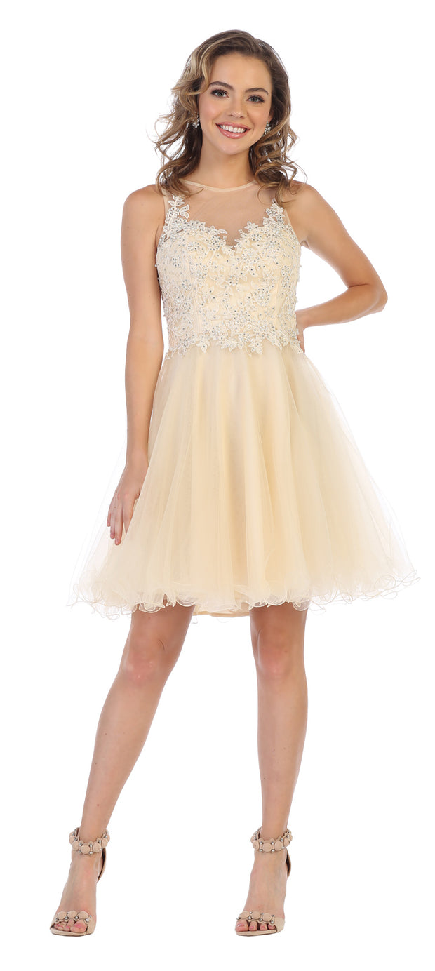 Sara's Fashion Short Sleeve Less Bridal dress In Edmonton