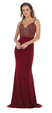 Sara's Fashion Burgundy V-Neck Wedding Gown In Edmonton