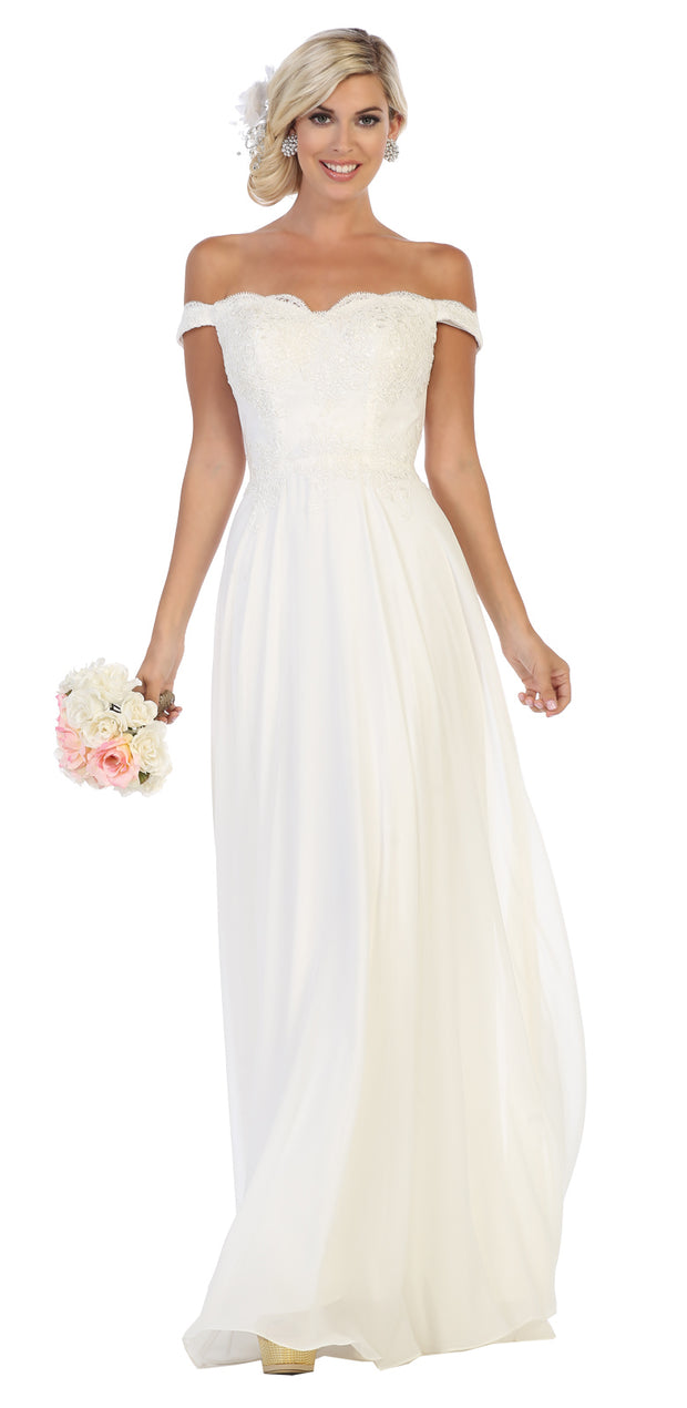 Sara's Fashion White long Gown for Bridesmaid In Edmonton