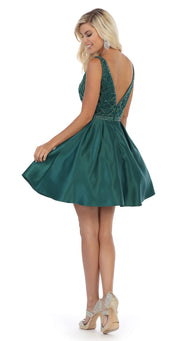 Sara's Fashion Sleeve less Hunter Green Formal Dress in Canada