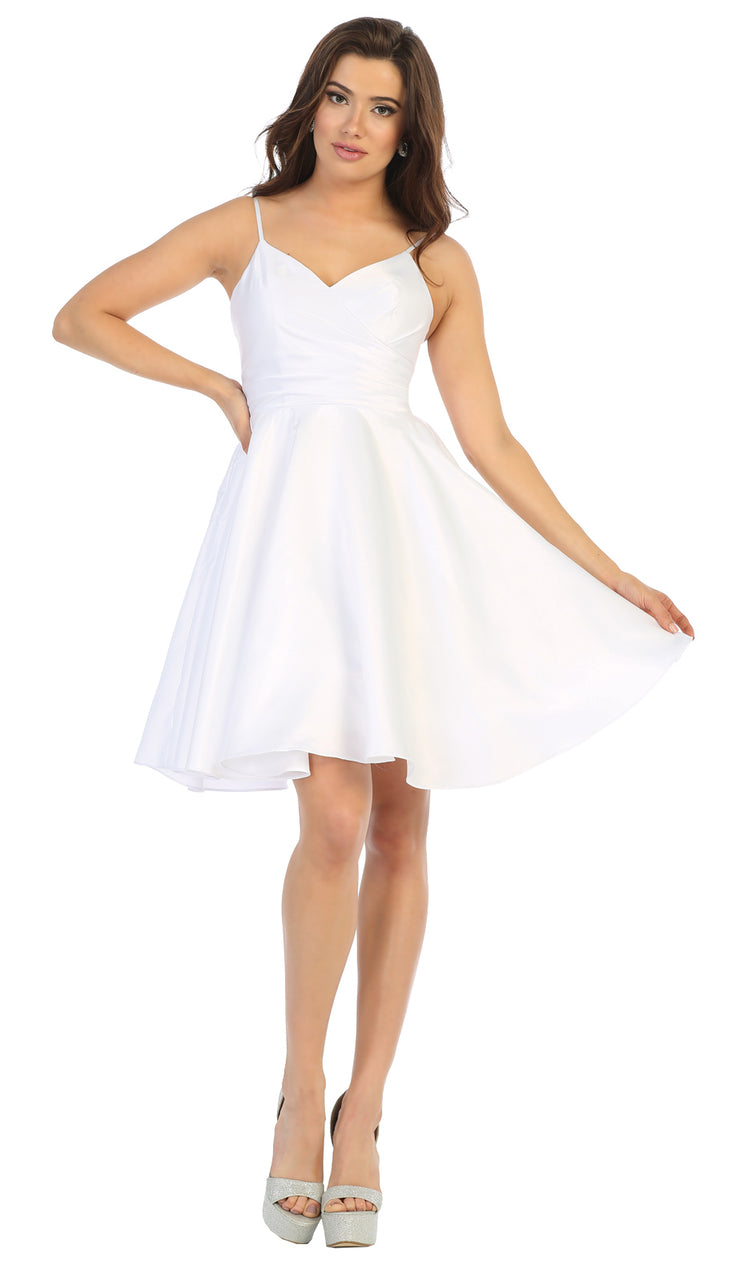 Sara's Fashion White Short  Bridesmaid Wedding Dress