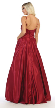 Sara's Fashion red, A-Line, Corset Back , Sleeve Less Bridal Dress .