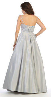 Sara's Fashion Silver Color, Open Back, Sleeve Less Bridal Dress In Edmonton.