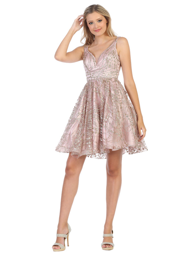 rose gold flowy glittery sequin dress